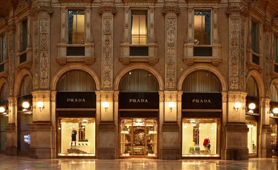 Prada flagship store in Galleria Vittorio Emanuele II and luxury shopping in Milan