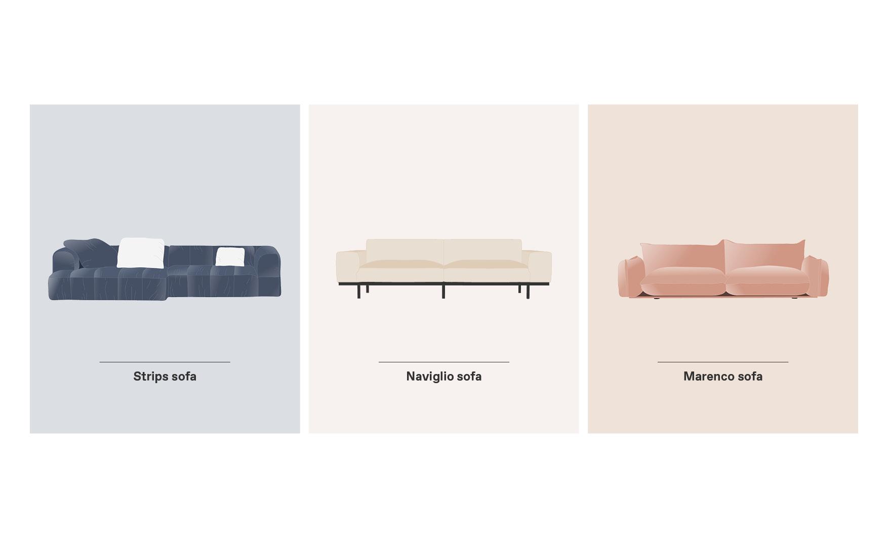 Strips Naviglio and Marenco Arflex sofas design