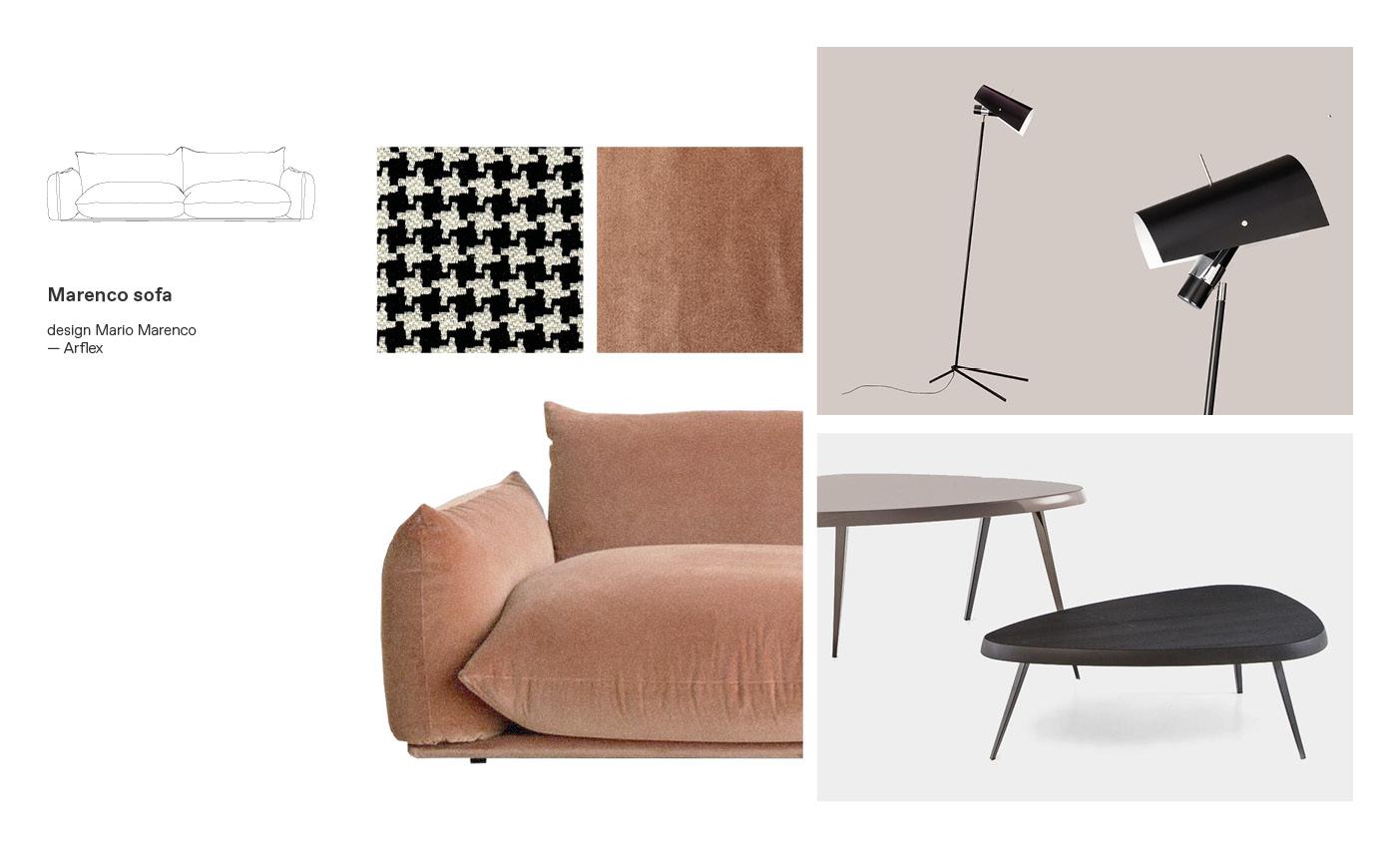 Marenco Arflex sofa moodboard composition