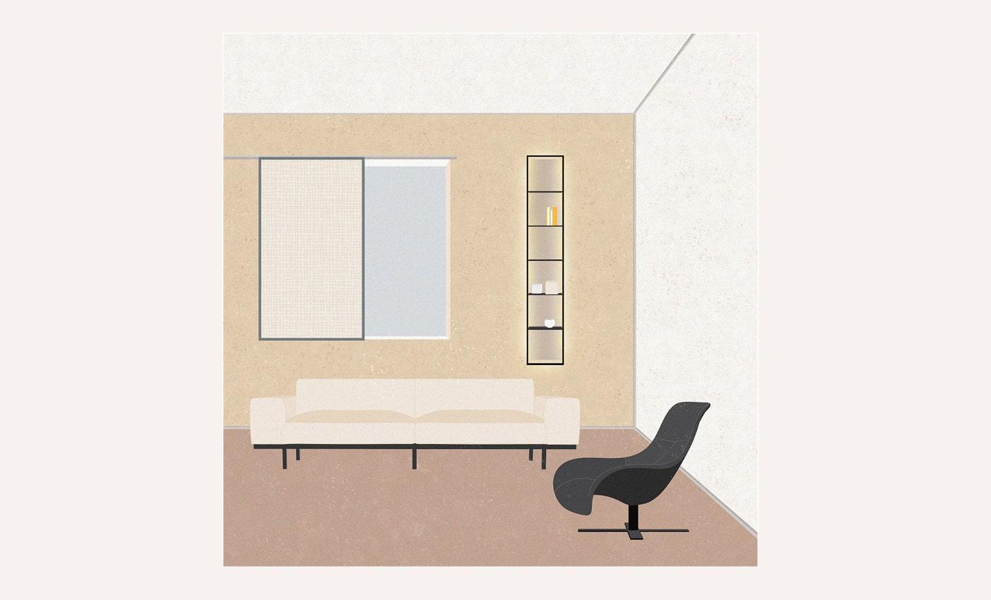 Arflex sofas inspirations with Naviglio sofa and B&B Italia Mart armchair designed by Esperiri