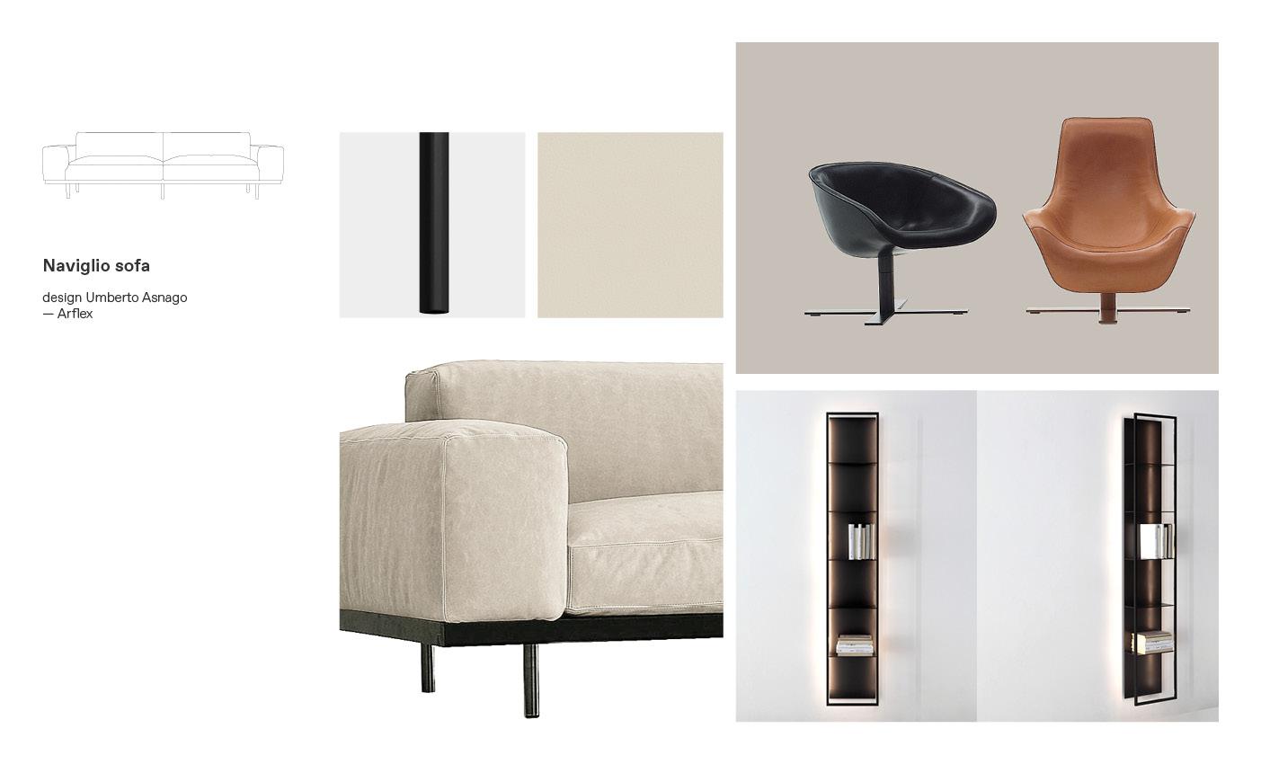 Arflex sofas and Naviglio moodboard composition