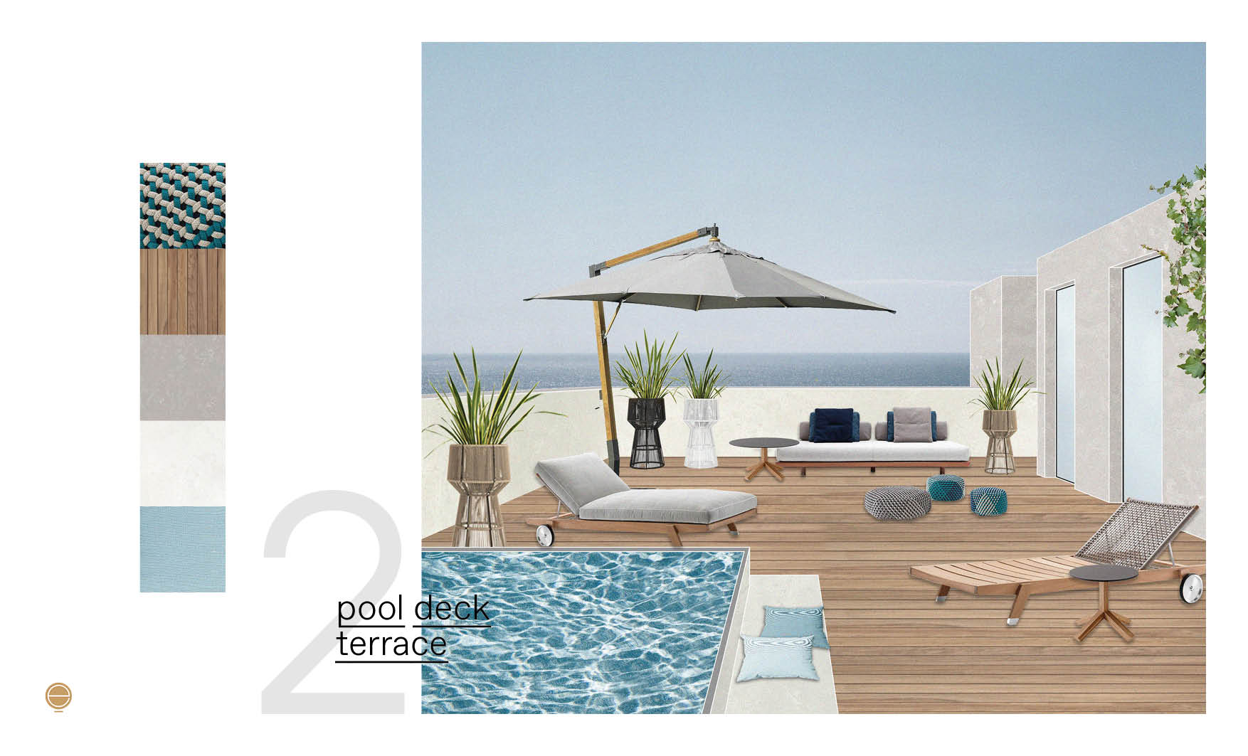 pool-deck Italian patio design project made by esperiri team