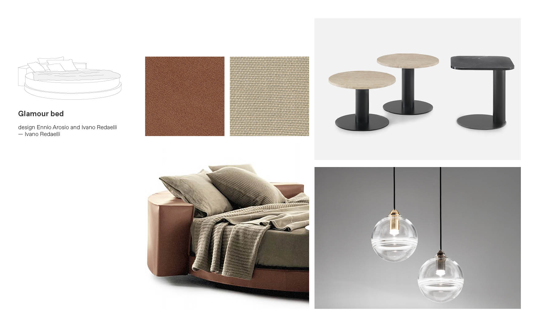 Ivano Redaelli beds and Glamour moodboard composition made by Esperiri Team