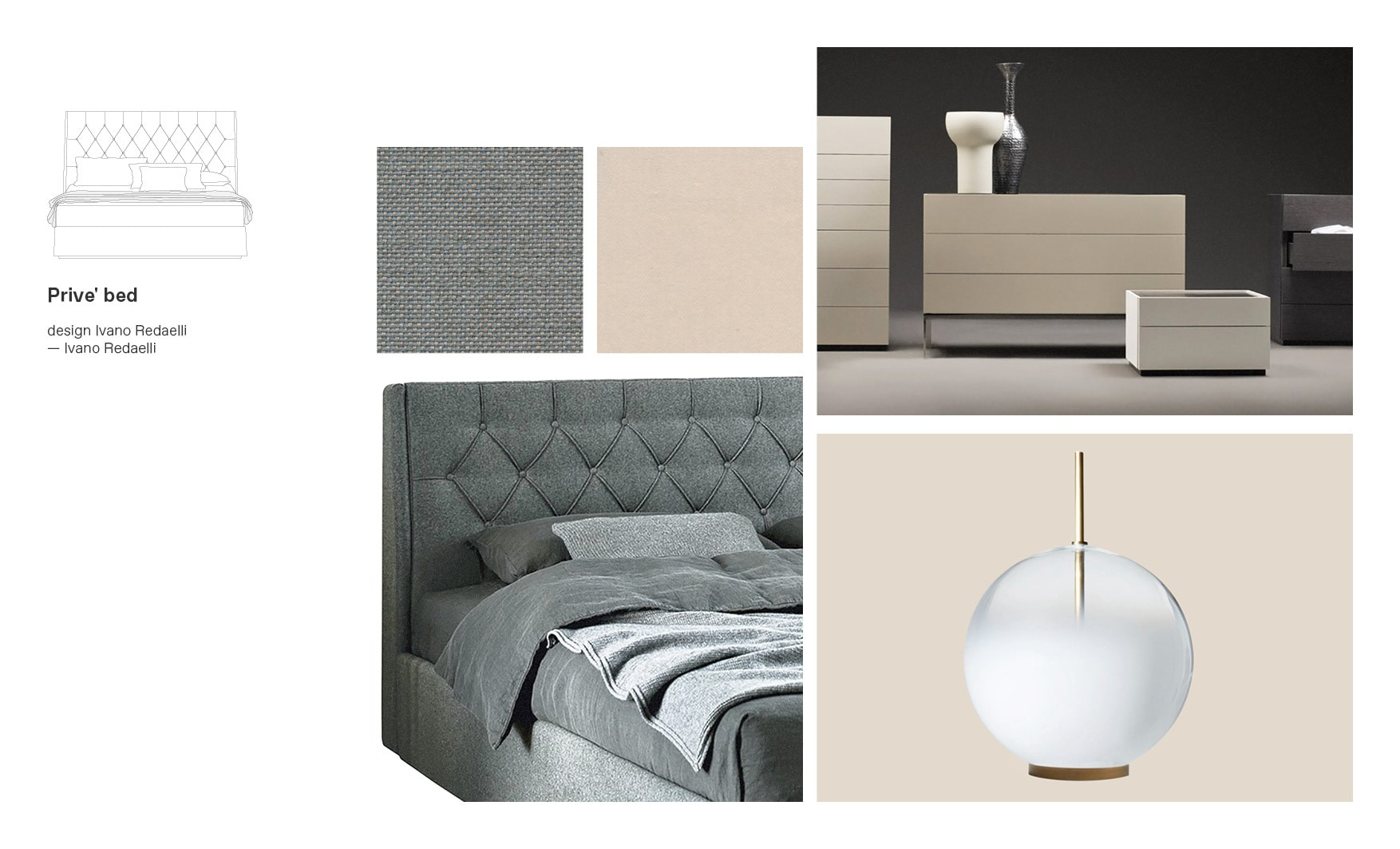 Ivano Redaelli beds and Prive' moodboard composition made by Esperiri team