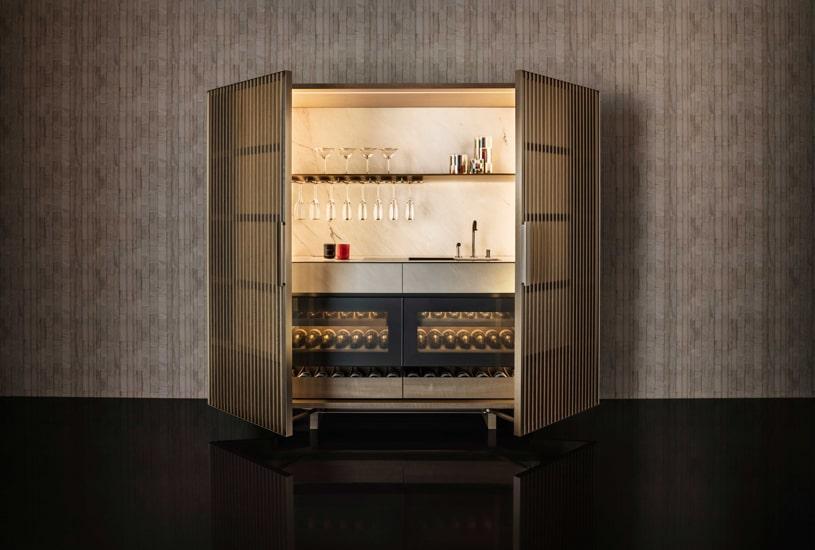 Molteni kitchens in collaboration with Armani designed Midnight wine bar cabinet