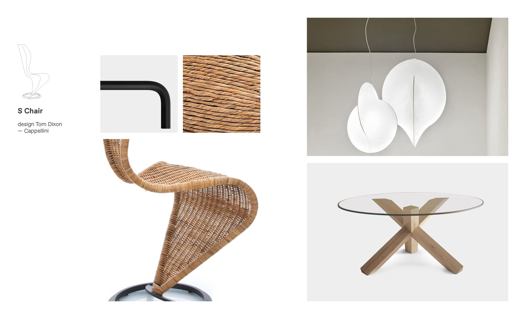 Cappellini chairs and S-Chair moodboard composition
