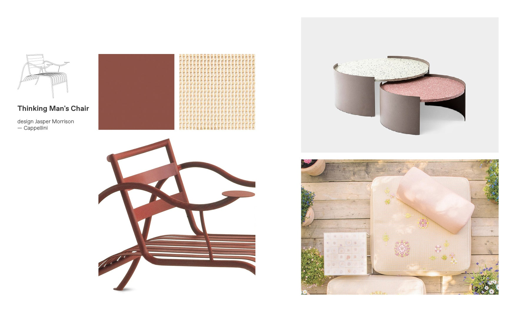 Cappellini chairs and Thinking Man's Chair moodboard composition