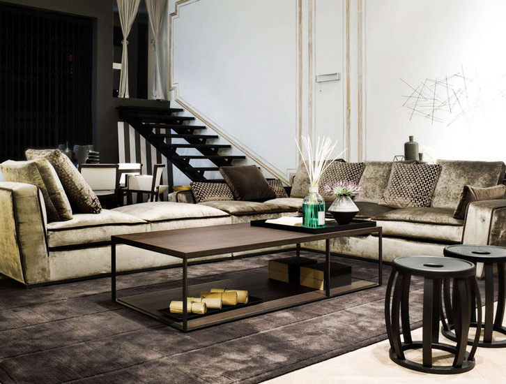 Luxury Living Room exhibited in one of the best showroom of Italian Furniture Bangkok