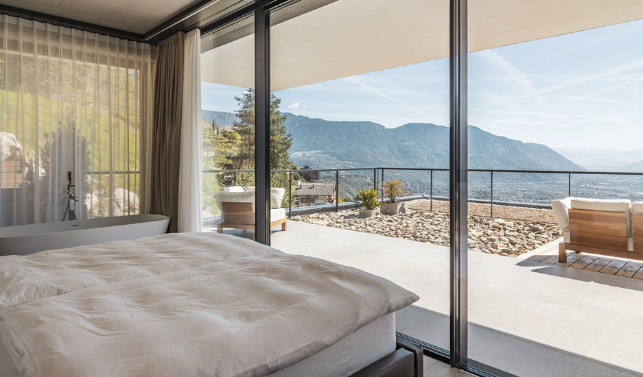 Amazing view from one of the suites of Arua Private Spa in Merano