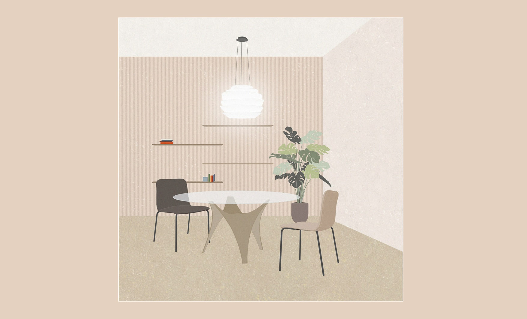 Molteni dining tables inspirations with Arc Table, Brianza Chairs by Arflex and Le Soleil Lamp by Foscarini. Illustration by Esperiri