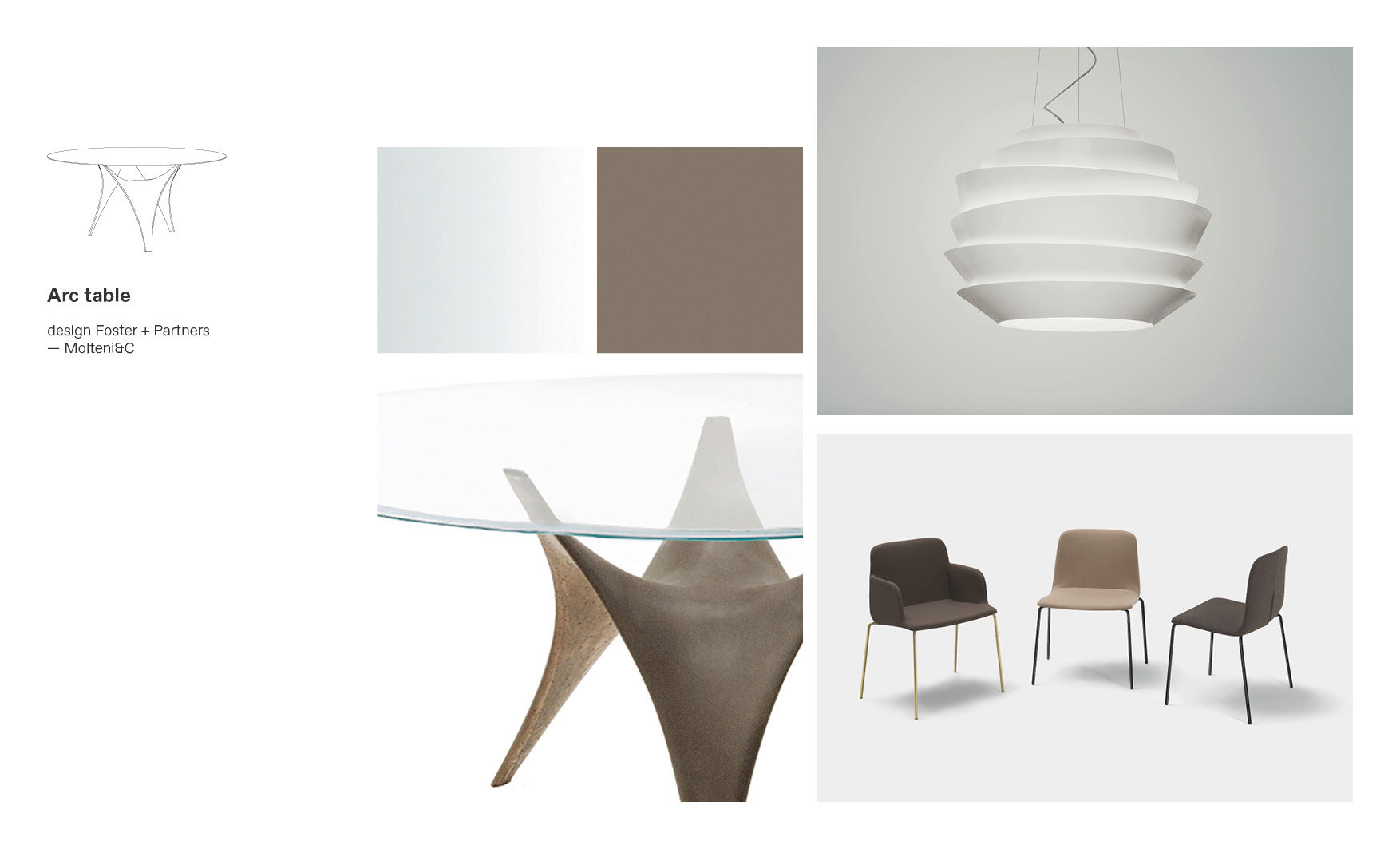 Molteni dining tables and Arc Table moodboard composition by Esperiri