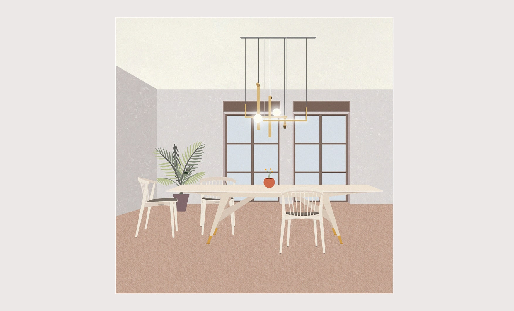 Molteni dining tables inspirations with D.859.1 Table, Newood Chairs by Cappellini and Less System Lamp by Venicem. Illustration by Esperiri