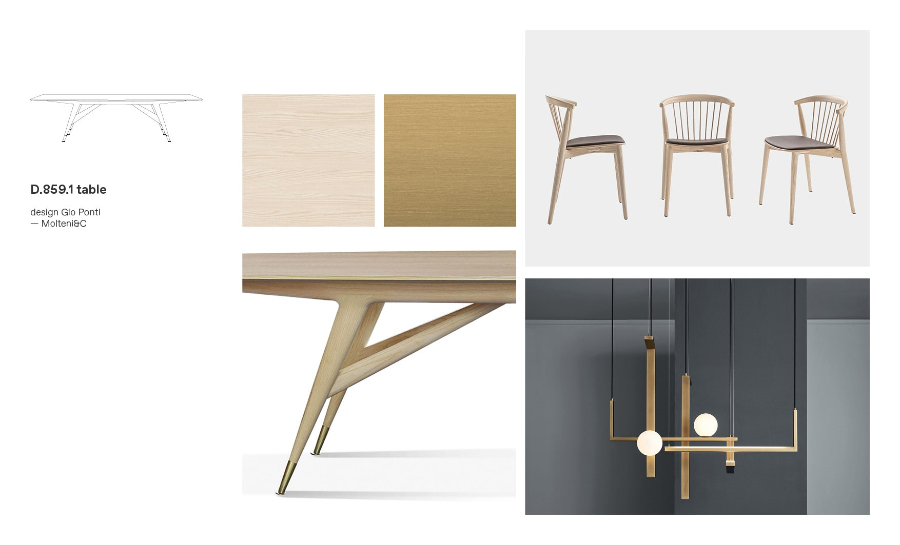 Molteni dining tables and D.859.1 Table designed by Gio Ponti, moodboard composition by Esperiri
