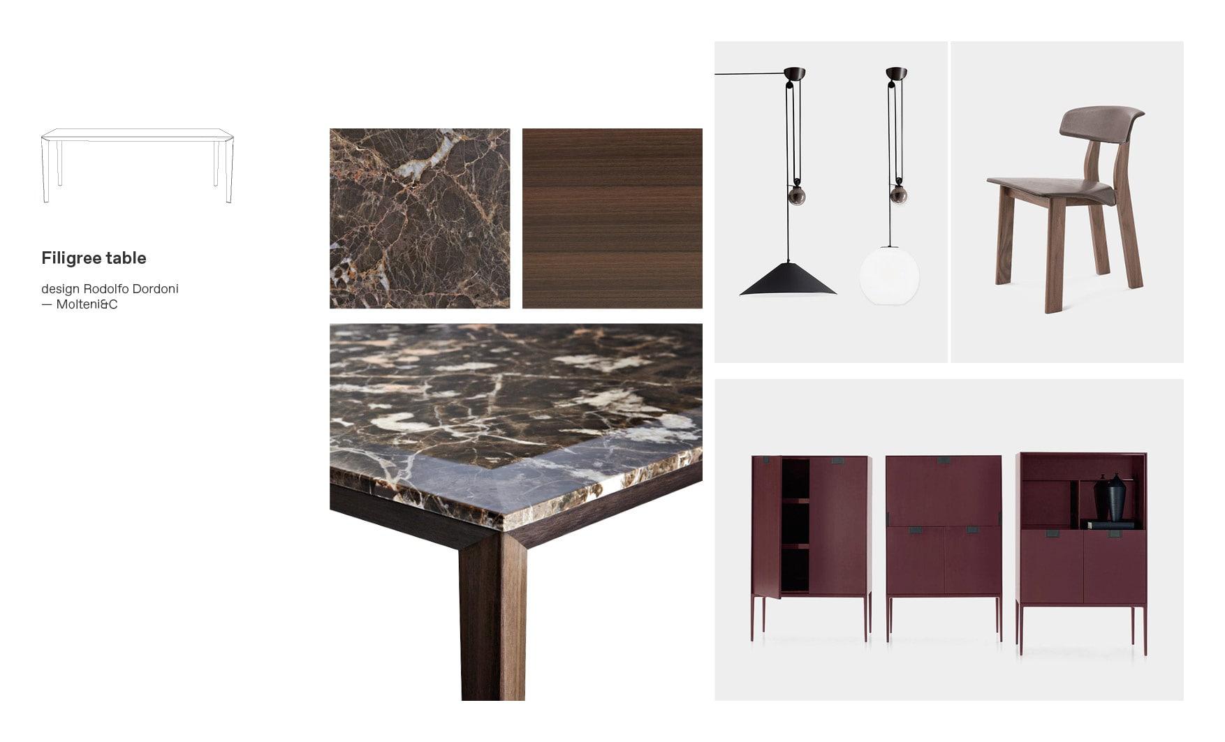 Molteni dining tables and Filigree moodboard composition by Esperiri