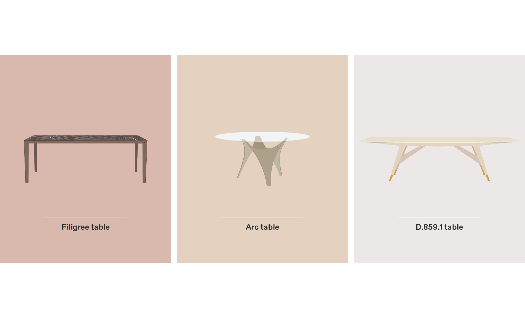 Filigree Table, Arc Table and D.859.1 Table are our selection of Molteni Dining Tables for Mix&Match by Esperiri