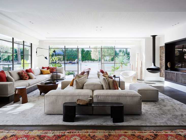 Extrasoft Sofa by Piero Lissoni for Living Divani with Missoni Cushions for this fusion style living room designed by Decus Interiors, one of the best interior designers Sydney has to offer
