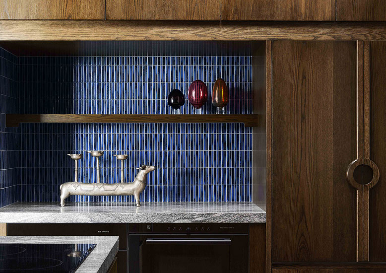 Detail of the kitchen designed by Flack Studio for Ivanhoe Residence in Melbourne