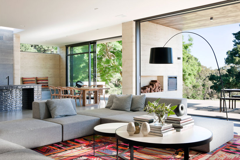 Eclectic Style for this Living Room designed by Robson Rak Architects, one of our list of the best interior designers melbourne has to offer