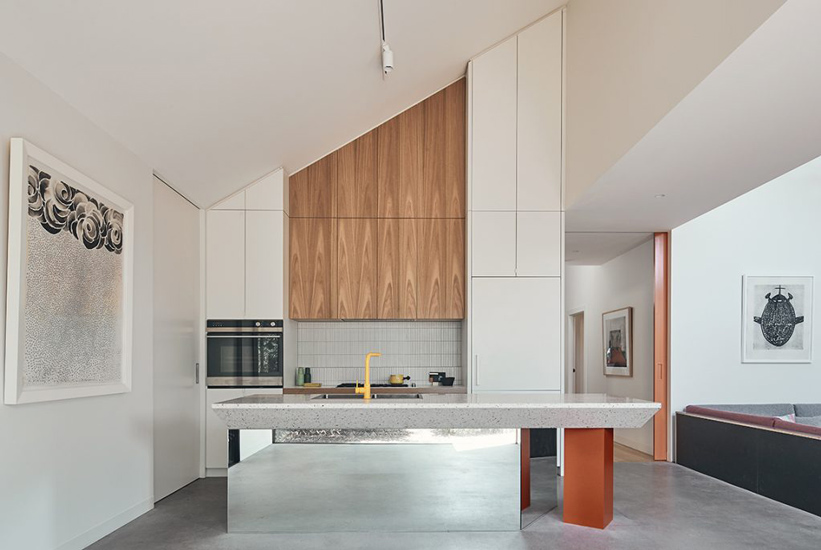 sharp and angular lines for this kitchen designed by FMD Architects, one of our list of the best interior designers melbourne