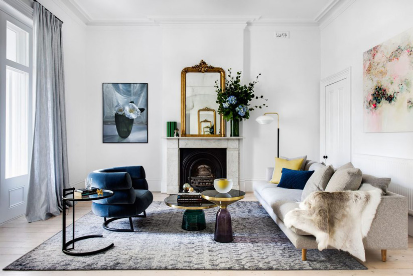 Luxury Style for this Living Room designed by SJB: Best Interior Designer Sydney has to Offer