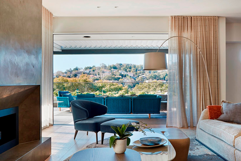 Warmth of natural materials and italian design for this Living Room designed by Hare + Klein: Best Interior Designer Sydney has to Offer