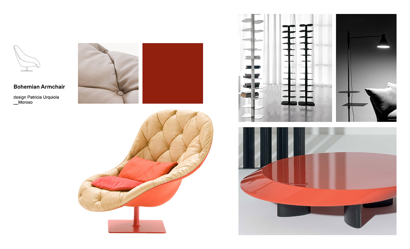 Moodboard composition with Bohemian Armchair by Patricia Urquiola for Moroso, DNA Bookcase by Cattelan Italia, Accordo Coffee Table by Charlotte Perriand for Cassina and Nota Lamp by Elisa Ossino for DePadova