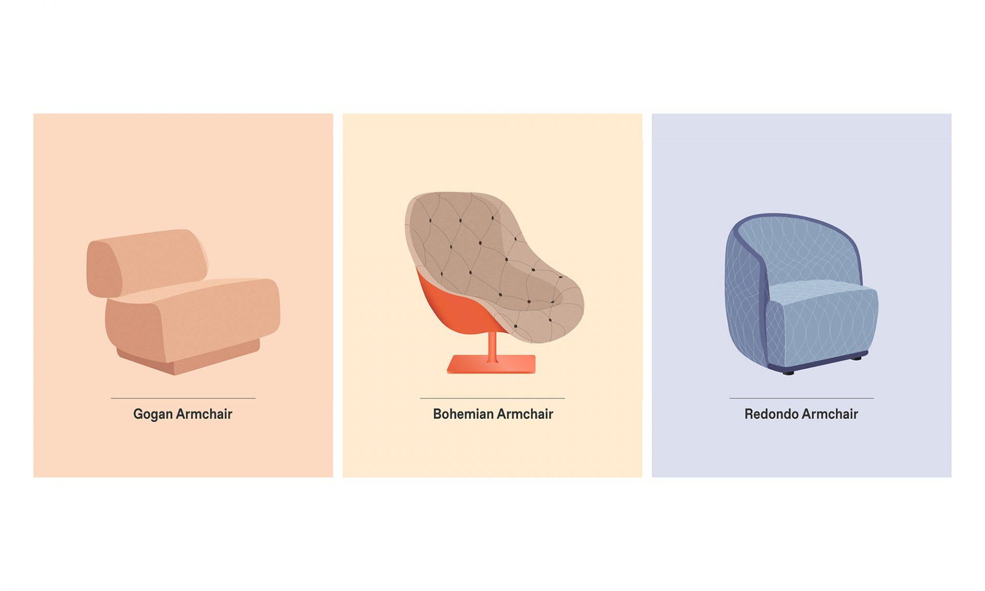 Gogan, Bohemian and Redondo Moroso armchair design