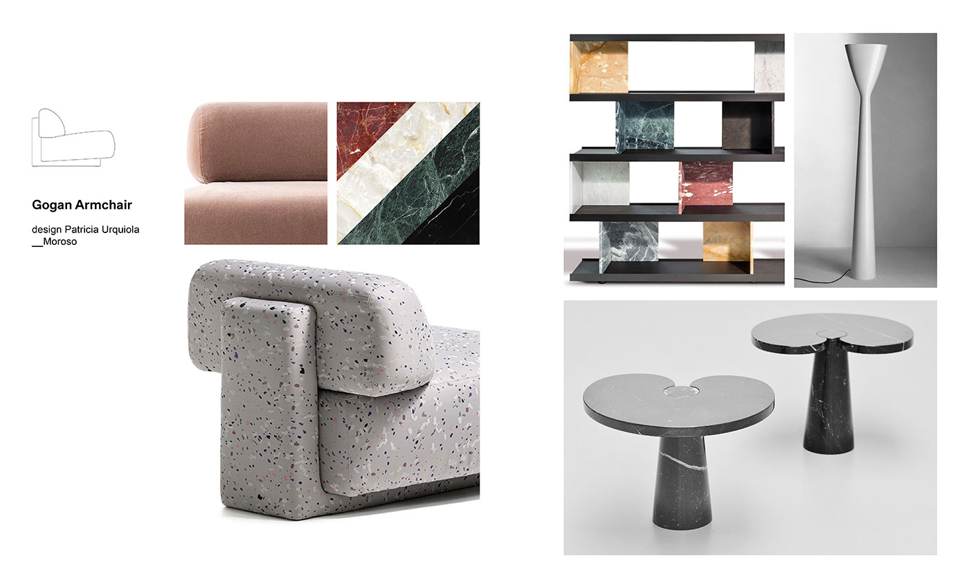 Moodboard composition with Gogan Armchair by Patricia Urquiola for Moroso, Colonnata Bookcase designed by Piero Lissoni for Salvatori, Eros Coffee Table by Angelo Mangiarotti and Carrara Lamp by Luceplan