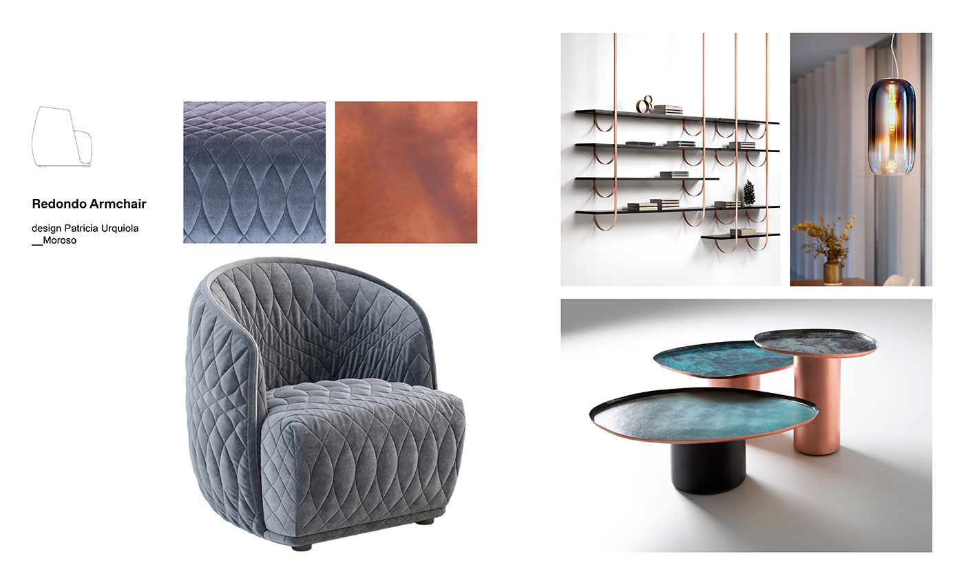 Moodboard composition with Redondo Armchair by Patricia Urquiola for Moroso, Talea Bookcase, Drops Coffee Tables both by De Castelli and two Gople Lamps by Bjarke Ingels Group for Artemide