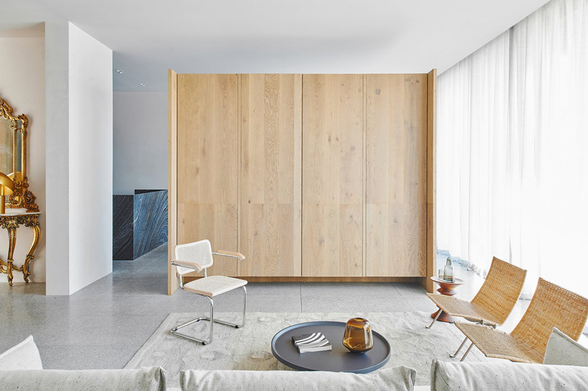 Minimal design and neutral palette for this living room designed by Davidov Architects in Melbourne