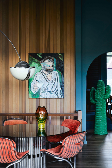 Dining Room with an accurate selection of italian icon pieces. Ivanhoe Residence designed by Flack Studio in Melbourne