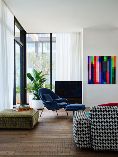 Italian Icon Design Pieces for this living room designed by kpdo, one of the design studios we selected in our list of the top interior designers melbourne has to offer