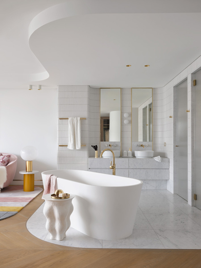 Carrara Marble Bathroom of Walsh Bay Penthouse designed by Greg Natale, one of the top interior designers Sydney has to offer