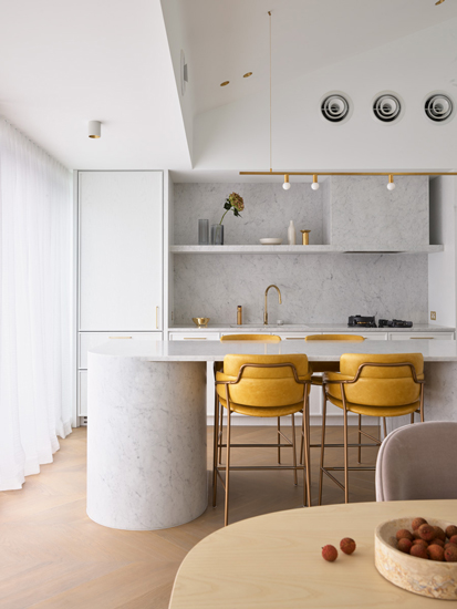 Carrara Marble Kitchen of Walsh Bay Penthouse designed by Greg Natale, one of the top interior designers Sydney has to offer
