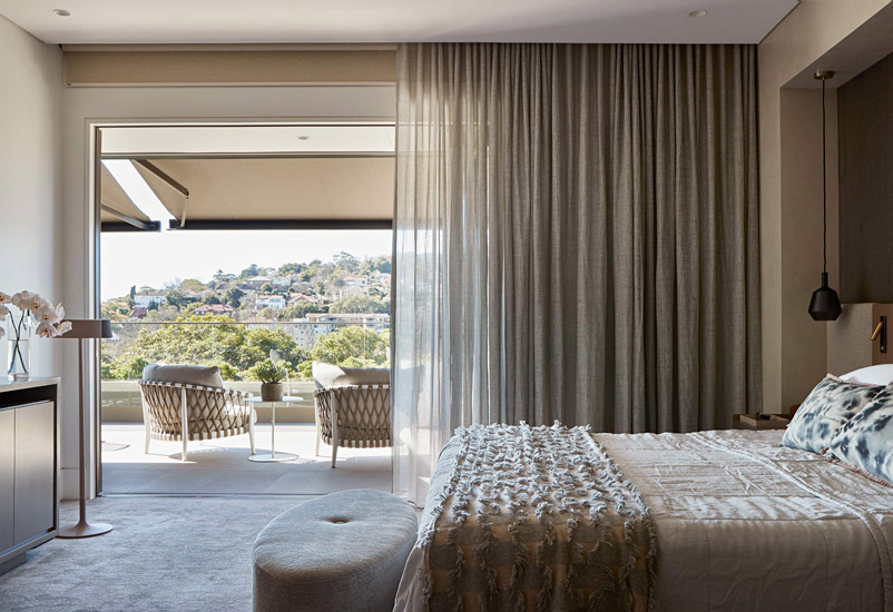 Warmth of natural materials and italian design for this BedRoom designed by Hare + Klein: Best Interior Designer Sydney has to Offer