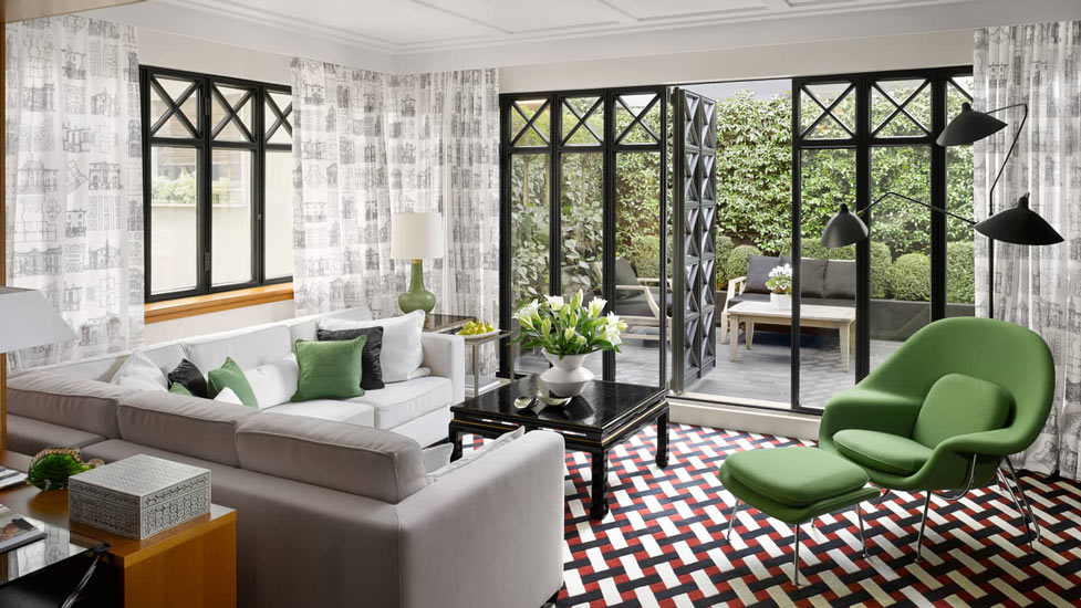 Suite room designed by french interior designer Pierre Yves Rochon at Four Seasons, one of the Best 5 star Hotels in Milan's Montenapoleone Fashion District.