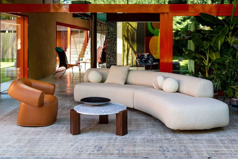 Ruff Armchair and Gogan Sofa, both designed by Patricia Urquiola, one of the most talented designers at Moroso. This brand and more italian furniture brands can be found in Sydney. discover the finest luxury furniture Sydney has to offer