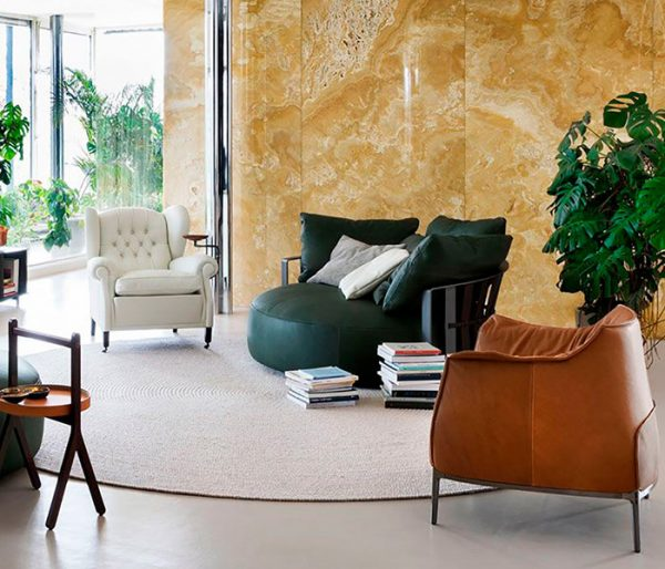 Three Armchairs by Poltrona Frau, one of the best italian furniture Switzerland has to offer
